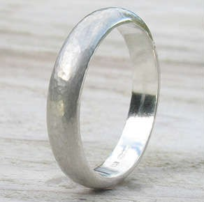 Sterling Silver Hammered Band, handmade in the Cotswolds