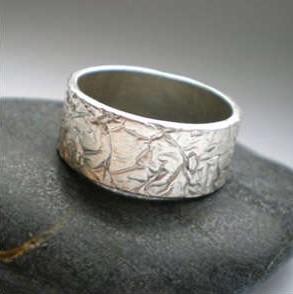 Silver Crumpled Ring, handmade in Edinburgh
