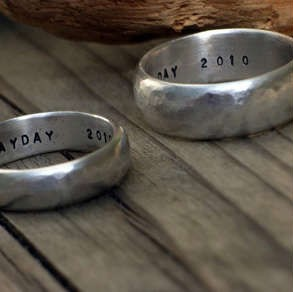 Personalised Recycled Silver Rings and Brushed Satin Silver Rings, hand-forged in Cornwall