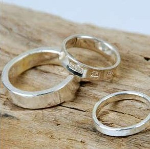 Silver Barcode and Camouflage Rings, handmade in Brighton