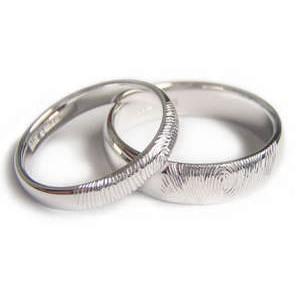 White Gold Fingerprint Wedding Bands, handmade in London