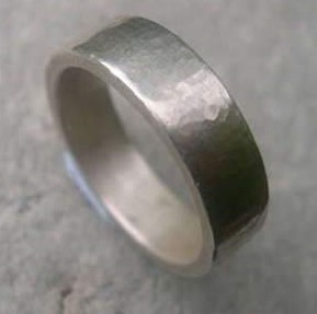 Hammered Silver Wedding Band, hand-forged in Dorset