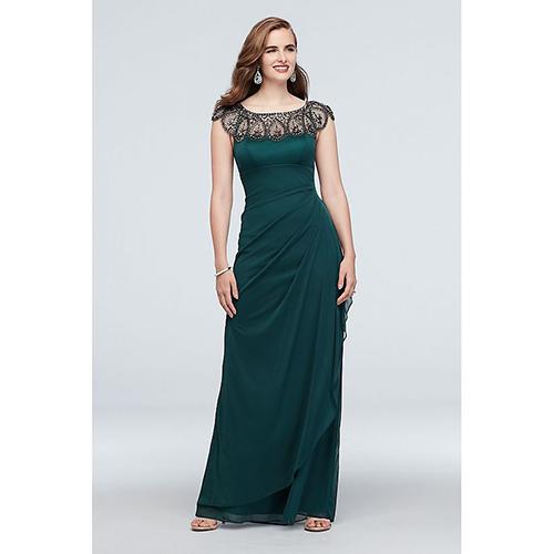 Long Cap-Sleeve Party Dress