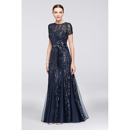 Short Sleeved Sequin Illusion Gown