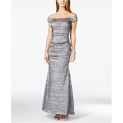 Alex Evenings Off-The-Shoulder Crinkled Dress