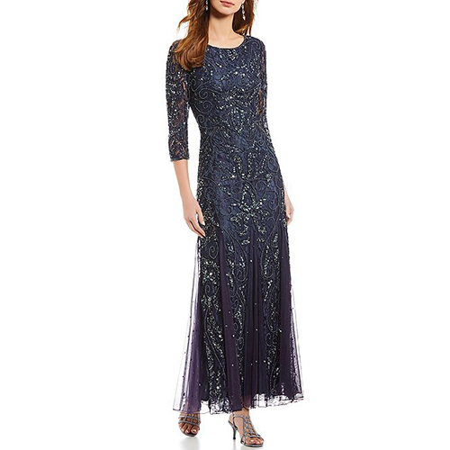 Pisarro Nights 3/4-Sleeve Beaded Lace Gown