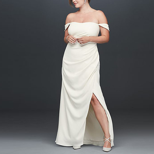 Draped Off the Shoulder Plus Size Crepe Gown