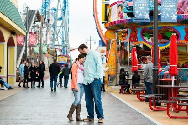 Amanda + Chase's Pleasure Pier Engagement Session by LeAnne Hope Photography