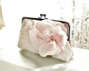 Light Dusty Pink Chiffon Rose Clutch