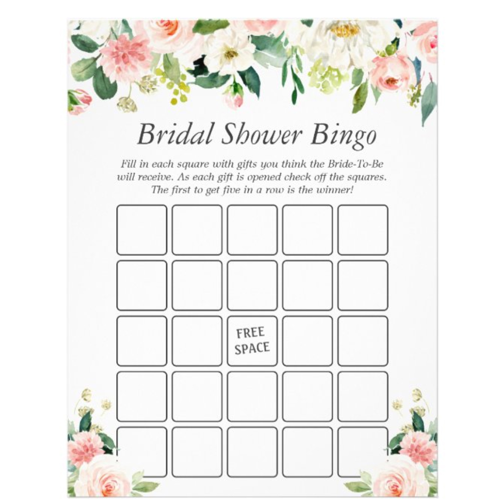 Printed Party Bridal Shower Bingo, Set of 50 Cards
