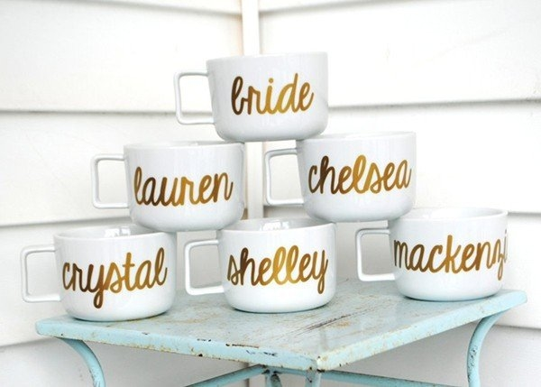 Personalized Bride and Bridesmaid Mugs