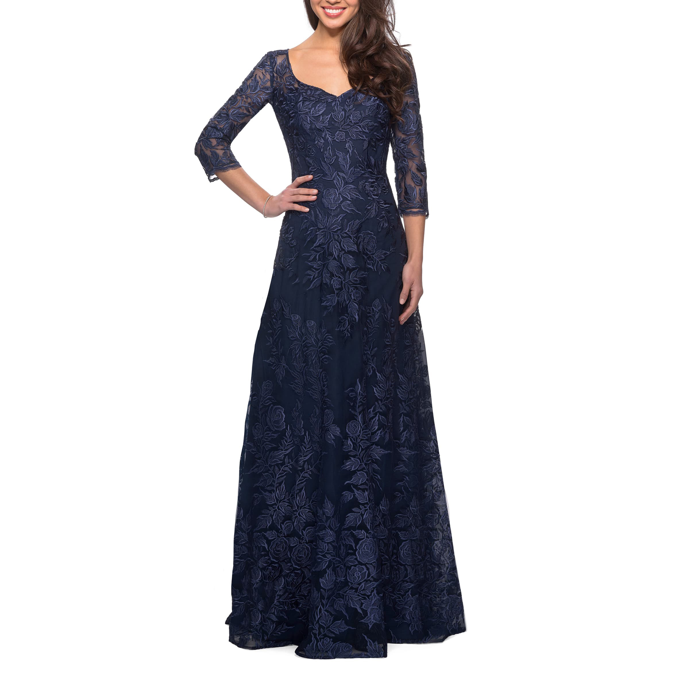 JS Collections Bateau Neck Lace Gown