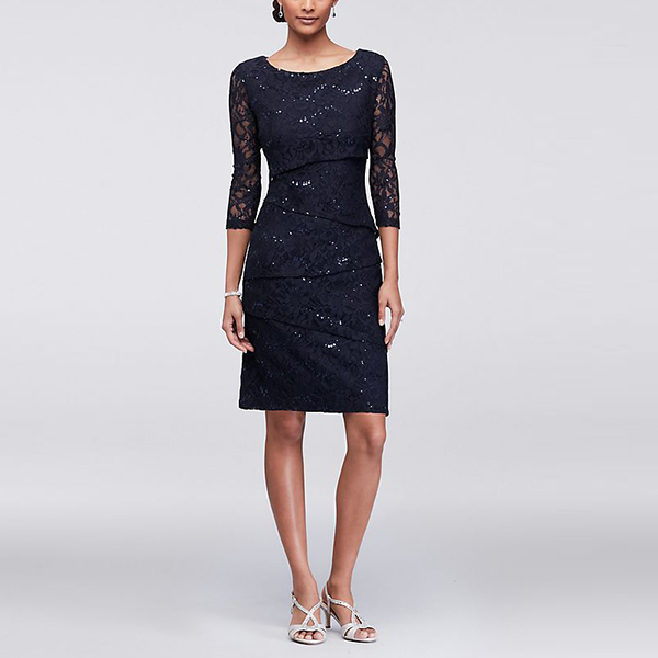 Ronni Nicole Asymmetric Tiered Lace Sheath Dress