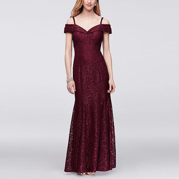 RM Richards Cold-Shoulder Glitter Lace Mermaid Dress