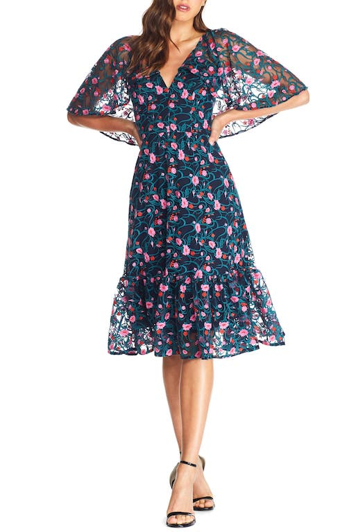 Dress the Population Virginia Cape Sleeve Embroidered Dress