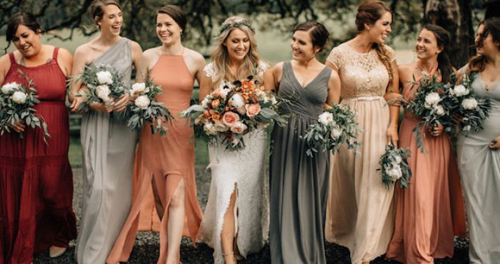 10 Great Examples Of Mismatched Bridesmaid Dresses Mywedding