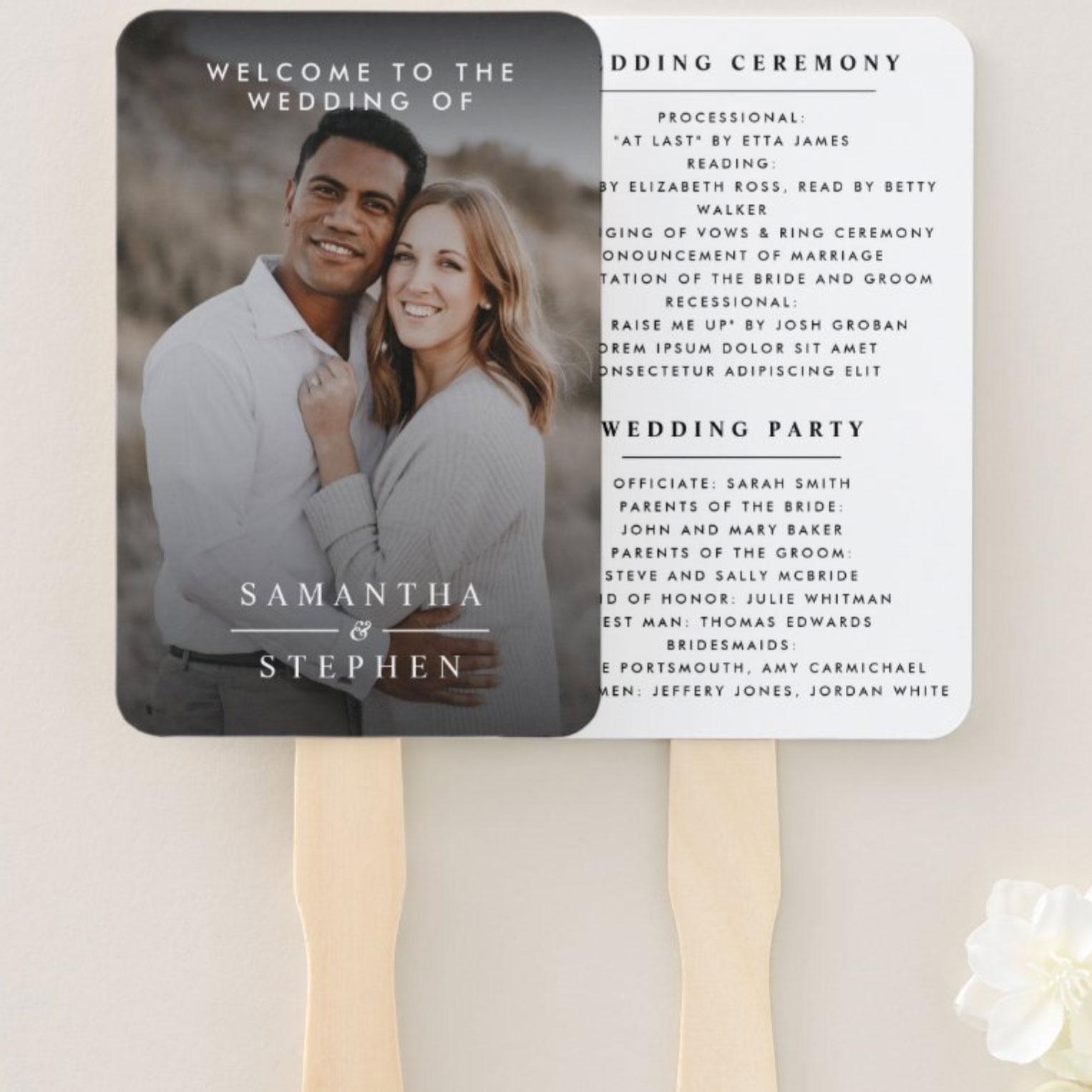 Modern Minimalist Photo Wedding Hand Fan Programs