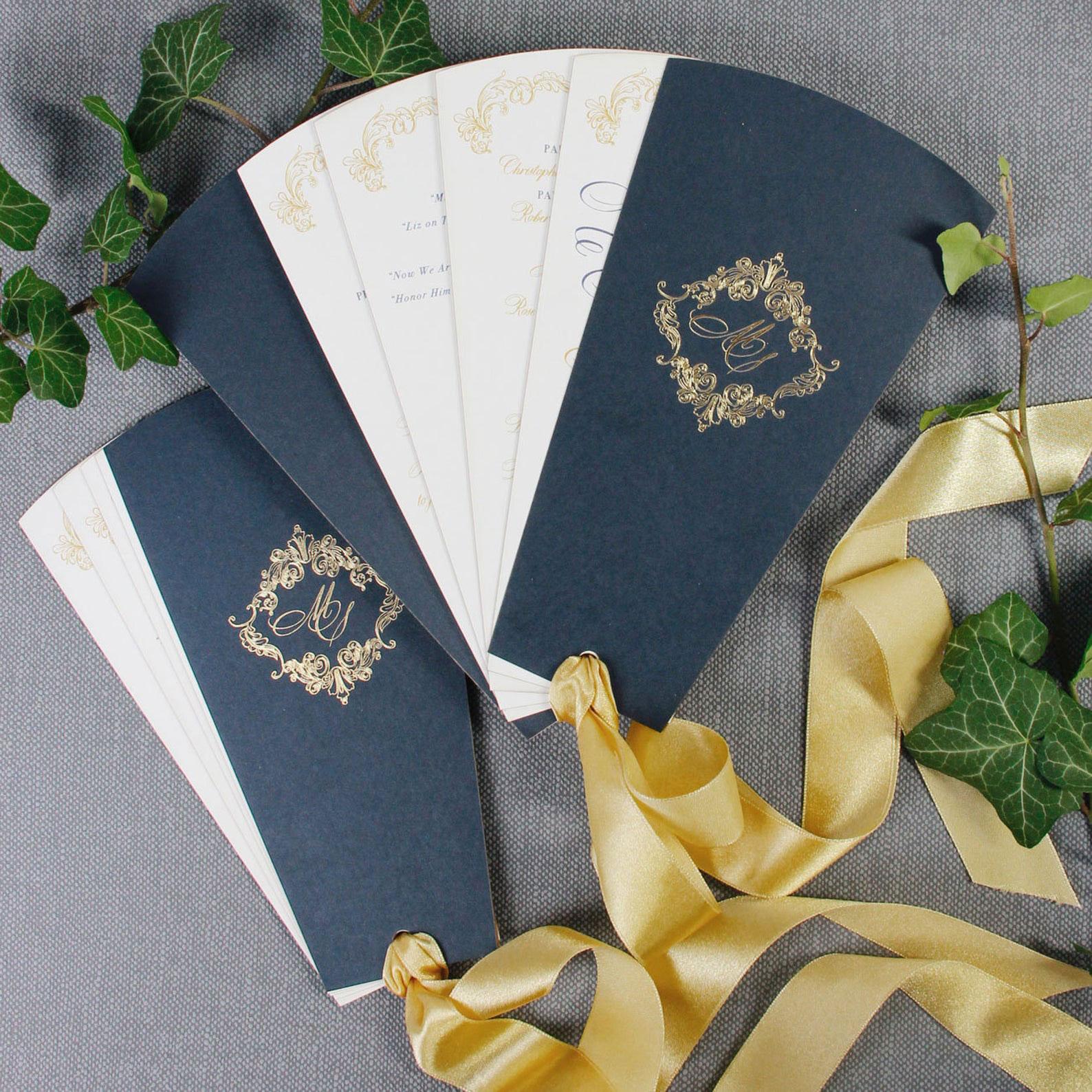Luxury Foil Monogram Program Fans with Ribbon