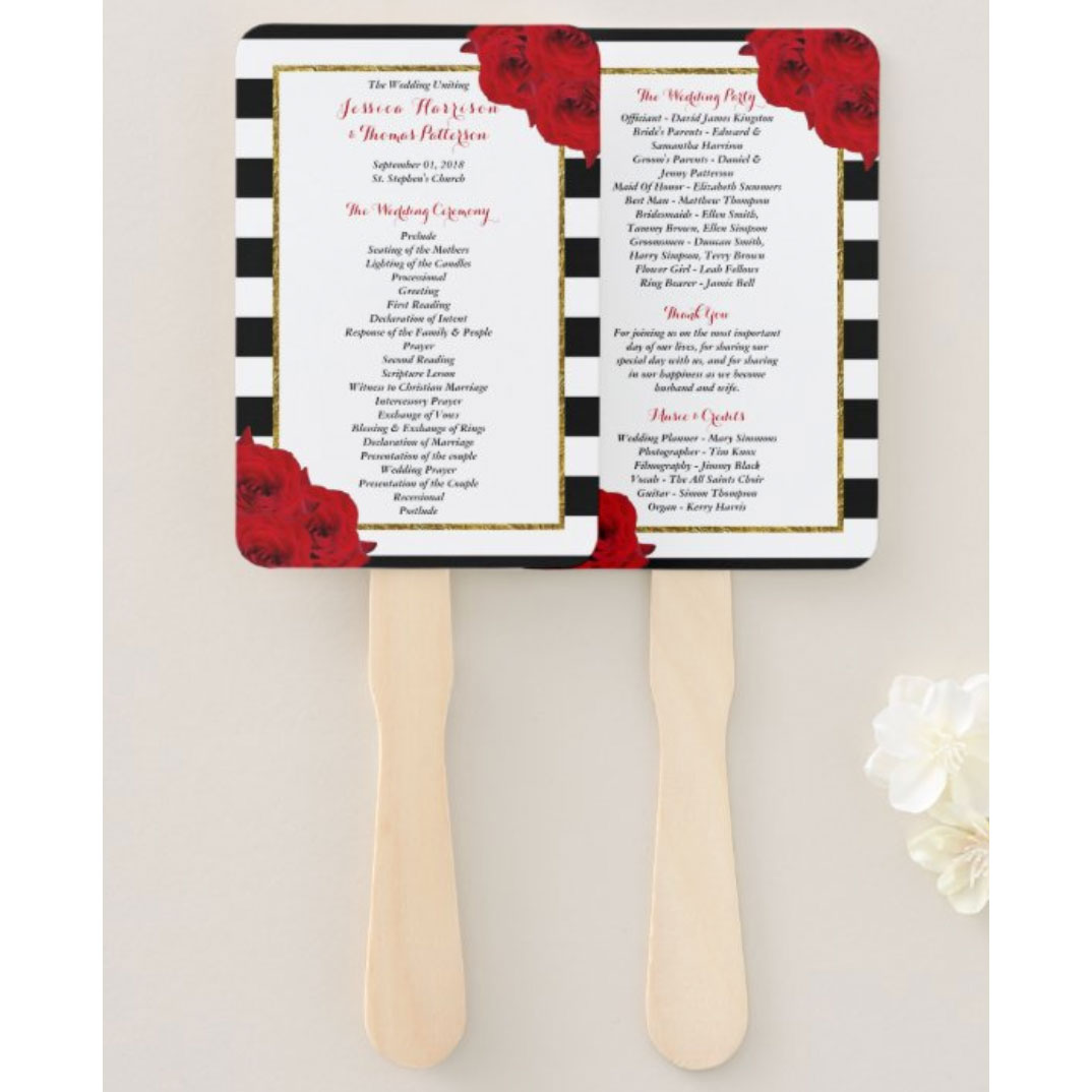 The Chic Modern Luxe Wedding Collection- Red Roses Hand Fan