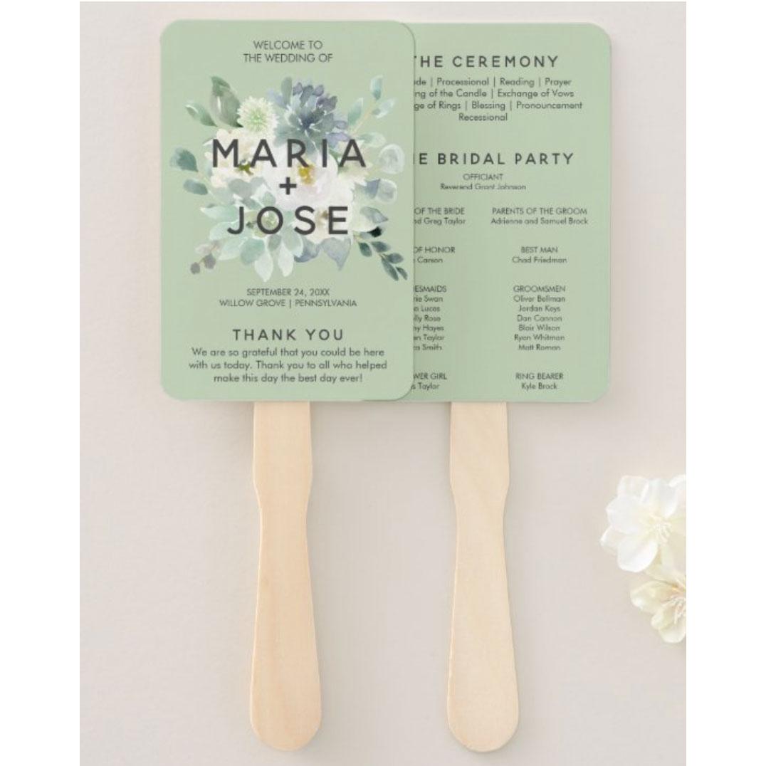 Succulent Greenery Wedding Program Hand Fan