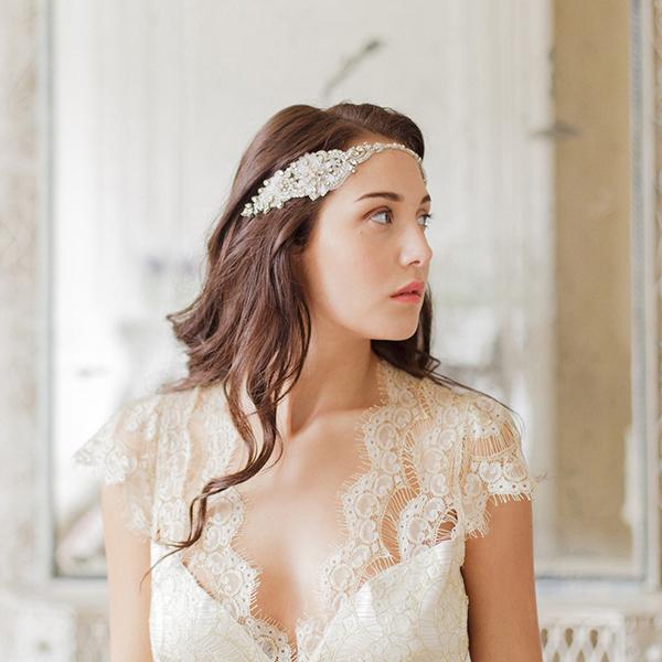 Bridal Headband in Gold Tone