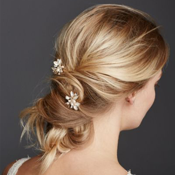 Textured Leaves Hairpins with Pearl Embellishments