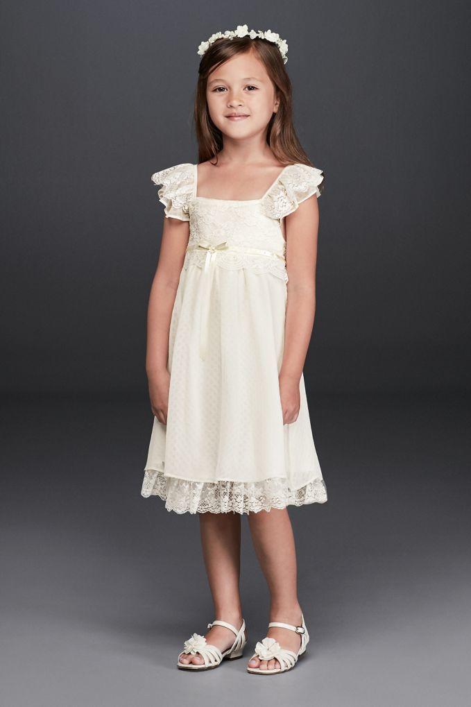 Boho Flutter Sleeve Lace Flower Girl Dress