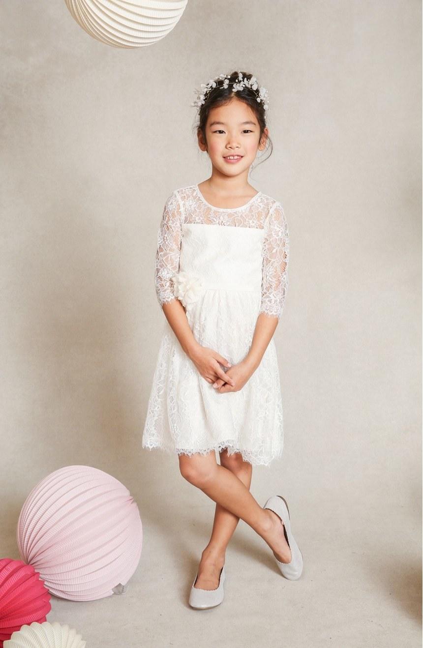 'Annie' Floral Appliqué Lace Dress