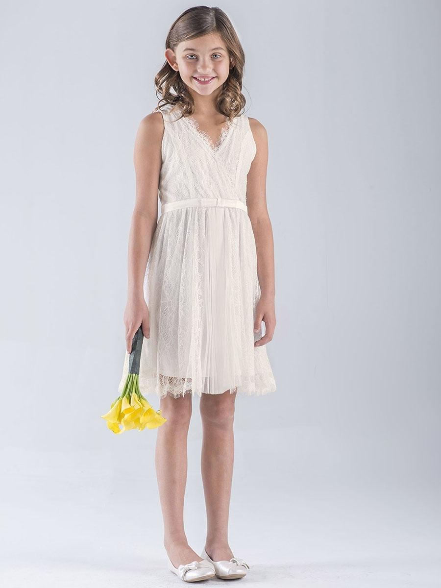 US Angels Ivory Lace Sleeveless Wrap Dress