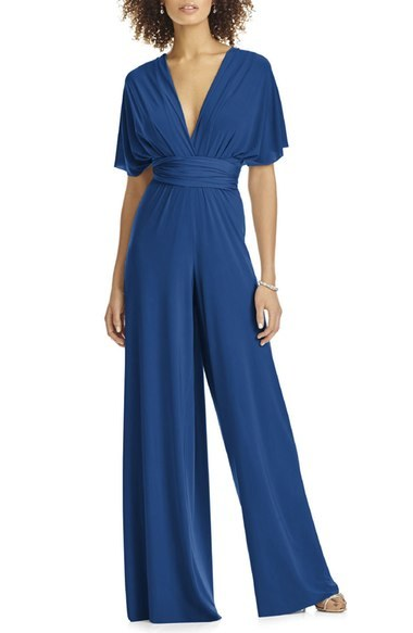 Convertible Wide Leg Jersey Jumpsuit