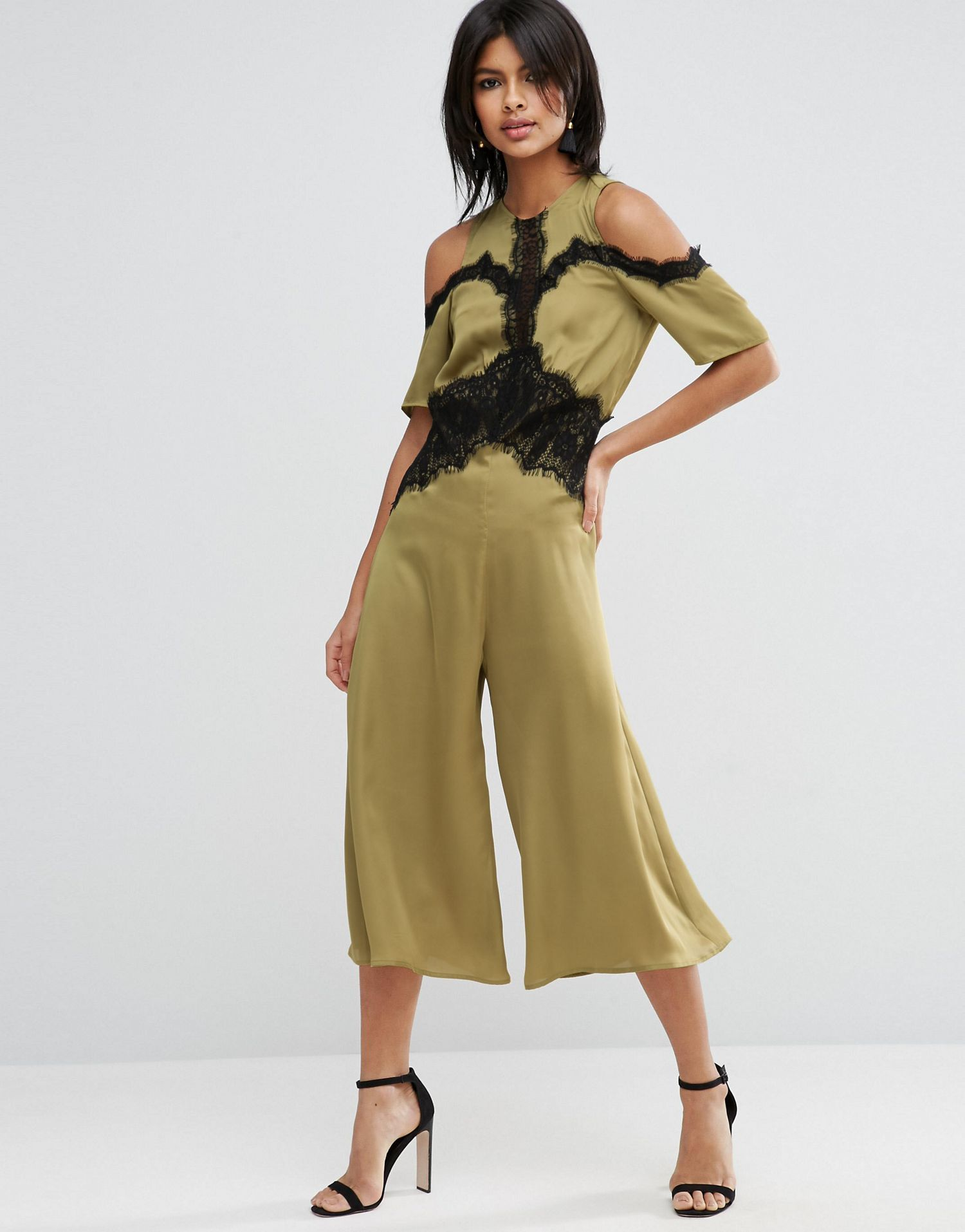 Satin Jumpsuit with Cold Shoulder and Lace Detail