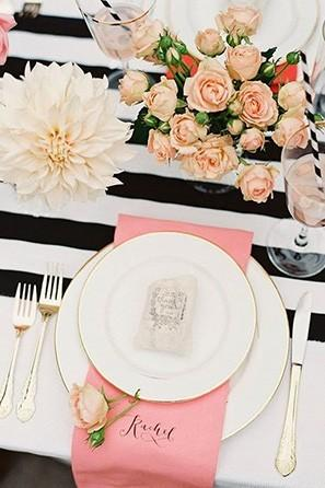 wedding black and white table runner