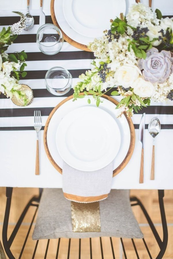 rose gold and black and white table runner