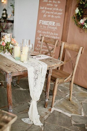 rustic lace table runner 1