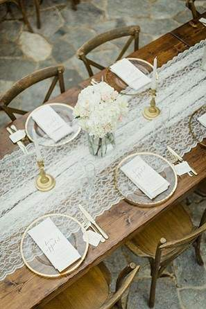 rustic lace table runner 2