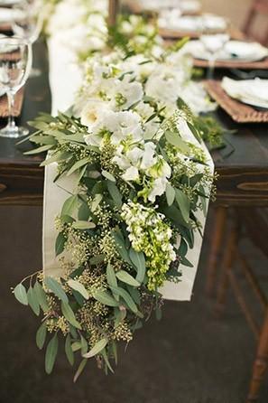 white floral table runner