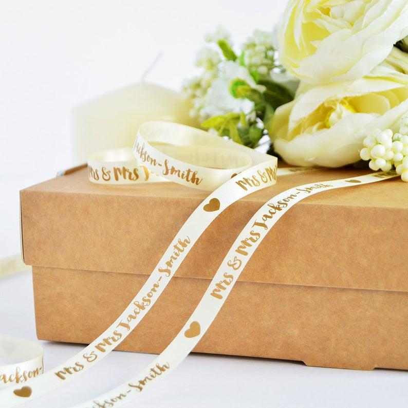 Wedding 10mm Personalised Printed Ribbon