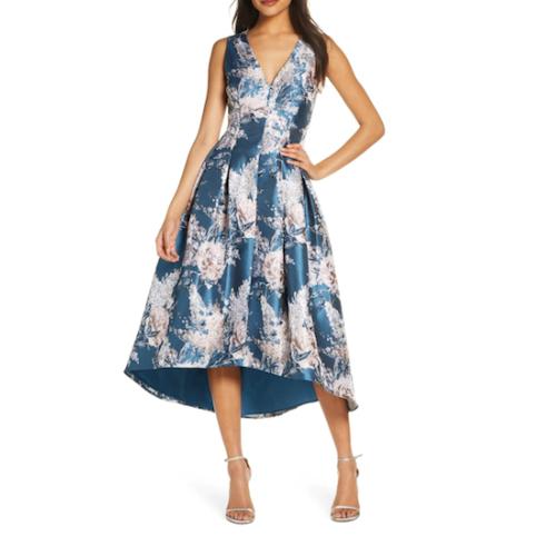 Eliza K Metallic Floral Jacquard High/Low Dress