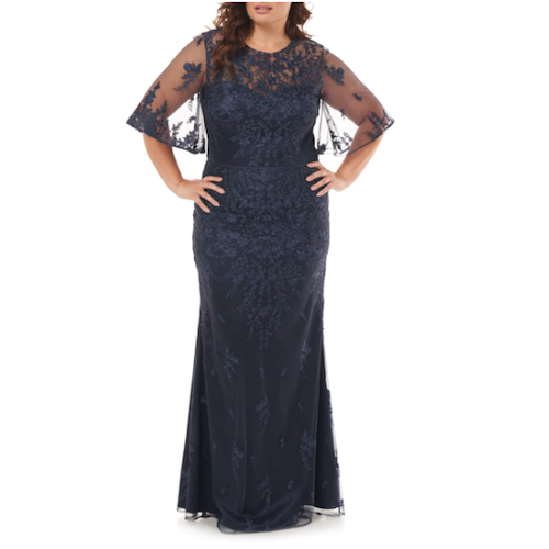 JS Collection Floral Embroidered Flutter Sleeve Gown