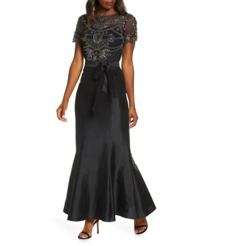 Pisarro Nights Beaded Bodice Taffeta Mermaid Gown