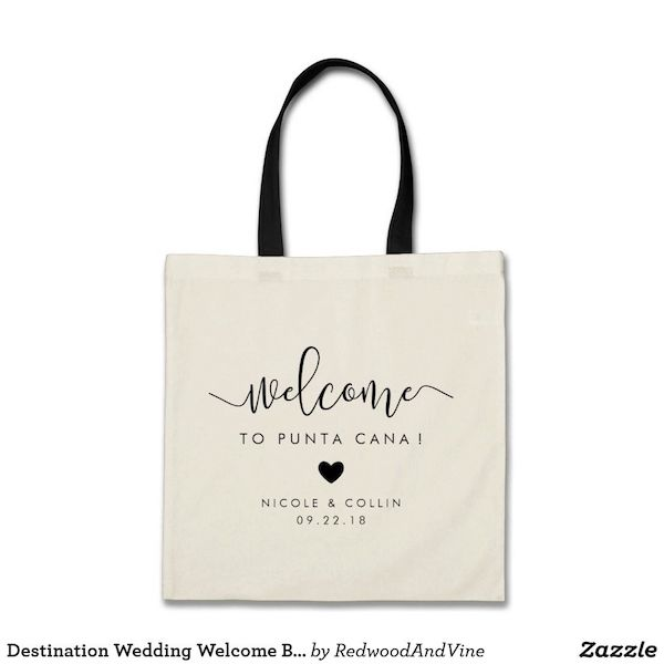 Destination Wedding Welcome Bag with Heart Print