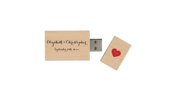 Custom Wedding Name Monogram Heart Wood USB Drive