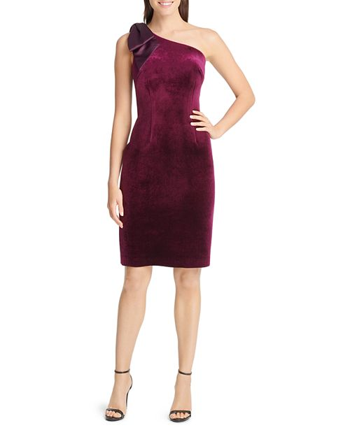 Eliza J Velvet Bow-Shoulder Sheath Dress