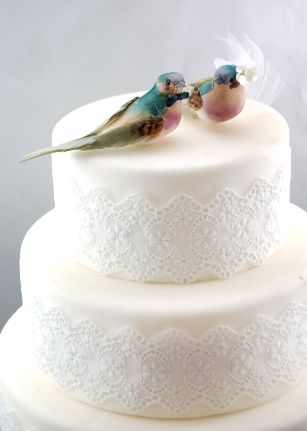 """Charming Love Bird """"Bride and Groom"""" Cake Topper"""