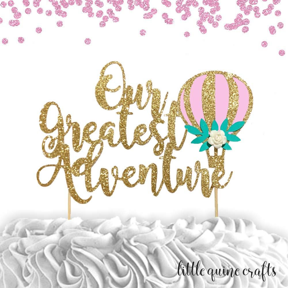 Gold Glitter Wedding Cake Topper with Hot Air Balloon