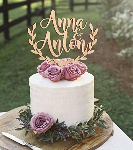 Rustic Wedding Cake Topper with Leaf Border