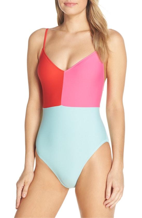 Destination Wedding Florida Keys: Colorblock Strappy One-Piece Swimsuit by J.Crew