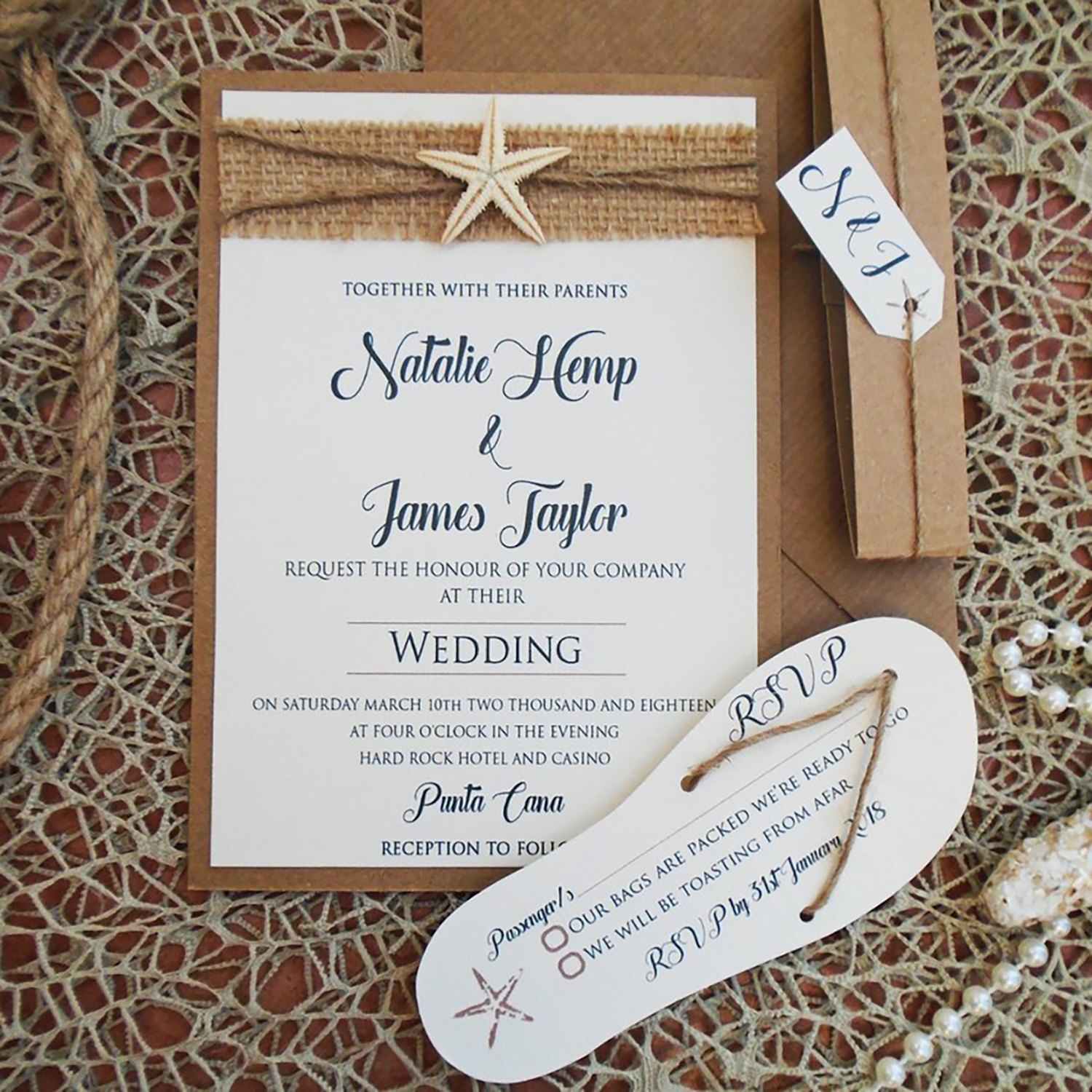 Starfish Burlap Wedding Invitation and Flip Flop RSVP