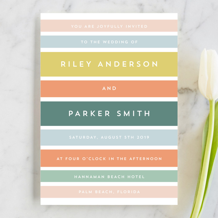 Beach Stripe Wedding Invitation