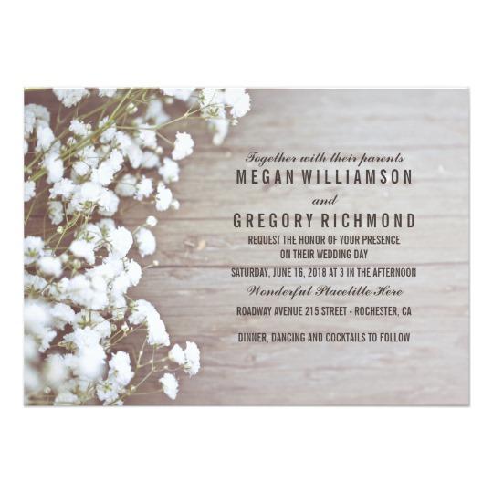 Floral Baby's Breath Rustic Summer Simple Wedding Invitation